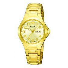 Pulsar Women's PXU036 Gold-Tone Champagne Dial Day Date Watch