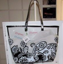 VERA BRADLEY LARGE MIDNIGHT PAISLEY CLEARLY COLORFUL BEACH TOTE  RARE NWT