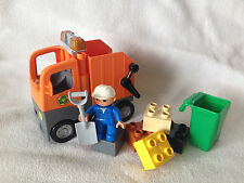 LEGO DUPLO SET 5637-raccolta dei rifiuti ORANGE-spazzatura auto-staßenarbeit-compl. Top