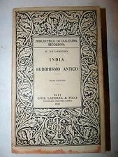 De Lorenzo: INDIA E BUDDHISMO ANTICO 1917 LATERZA 3a ed. Religione Filosofia