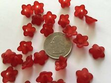 50 pcs Cute Frosted Cranberry Red 13mm 5 Petal Acrylic Flower Beads