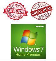 WINDOWS 7 HOME PREMIUM 32 / 64 BIT GENUINE LICENSE KEY  and Dell DVD