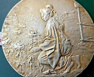 medaille argent Rivet chine japon fleur de lotus flower china japan silver medal