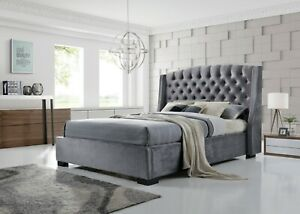 5FT Grey Velvet Fabric Wingback Headboard Bed Clearance 99p No Reserve
