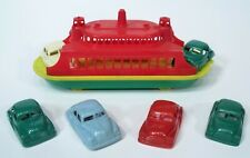 Excellent 1950's Pyro Usa Hard Plastic Auto Transport Ferry Boat 6 Cars Cool Toy