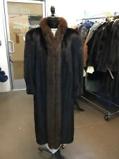 DARK RANCH MINK FULL SKIN LET OUT COAT SABLE BROWN FOX TUXEDO LARGE SIZE MINT