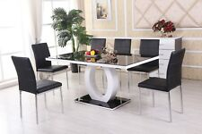 MAYFAIR Black/White High Gloss Glass Dining Table Set and 6 Leather Chairs Seats