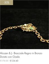 Alcozer & J.- Bracciale in Bronzo Dorato con Giada Perla e Quarzo (-30% sconto)