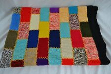 VINTAGE multicoloured patchwork knitted wool blanket retro 1960s 150 x 105cm
