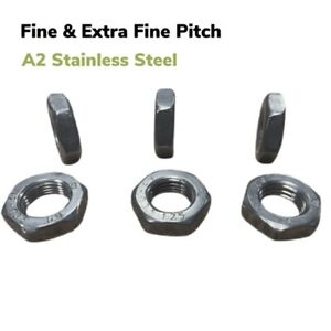 FINE PITCH HEXAGON HALF THIN LOCK NUTS METRIC A2 STAINLESS THREAD EXTRA FINE