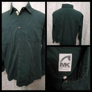Mountain Khakis Cotton Shirt Men's Large Green Great Shape Inv#Z2846