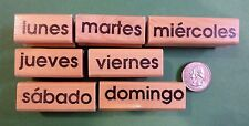Spanish Teacher's Days of the Week Rubber Stamp Set of 7, wood mounted