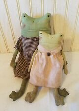 New listing Primitive Grungy Set of Two Sweet Lady Frog Sister Dolls