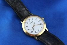 Piaget 18K Yellow Gold Automatique Date 34mm Crocodile Strap Men's Watch