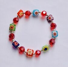 Stunning Millefiori Glass Multicoloured Square & Ruby Red Crystal Bracelet