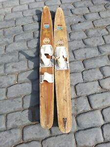 Vintage Pair of Ron Marks Wooden Little Nipper Water Skis 146cm long