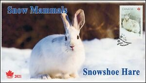 CA21-023, 2021, Snow Mammals, First Day of Issue, Pictorial Postmark, Snowshoe