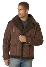 Men's Excelled Shearling-Look Moto Jacket Brown 2XL #NJ1F5-463