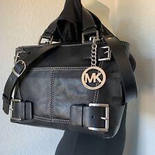 Michael Kors Large Black Leather Belted Buckle Satchel Handbag Purse Tote
