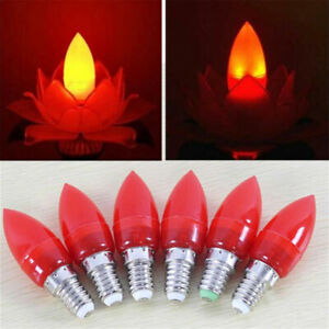 0.5W E14 E12 LED Red Lotus Filament Candle Light Bulb Buddhist Supplies