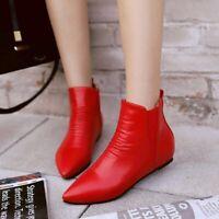 Gr.32-48 Rot Sexy Mode Damen Stiefel Freizeit Flach Europa Stil 43 Ankle Boots