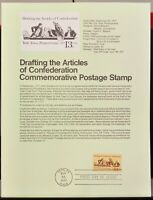 USPS 1977 First Day Issue Souvenir Page, Drafting Articles of Confederation