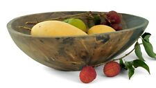 "Rustic Handmade Wooden Oval Bowl Fruit Bread Rolls Snacks Potpourri -14""  Marble"