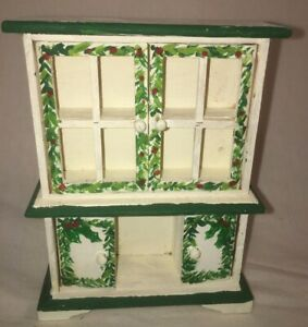 Dollhouse Miniature Wooden Christmas Holly Display Hutch China Cabinet w/ doors