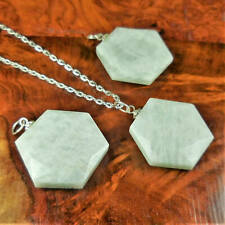 Amazonite Necklace - Faceted Crystal - Green Gemstone Hexagon (A53)