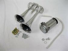 Chevy GMC Pickup Silverado 12 volt Chrome Dual Trumpet Compact Train Air Horn