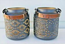 2x 23cms Black & Gold Moroccan candle holder Lanterns