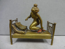 Austria Vienna Cold Painted Nude Lady with Red Shoes in Bed Bronze  Antique