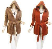 Celebrity Women Hooded Outerwear Wrap Tie Knit Sweater Cardigan Jacket Coat Top