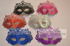 GLITTER MASQUERADE MASKS, FANCY DRESS - MANY COLOURS AVAILABLE! 9600