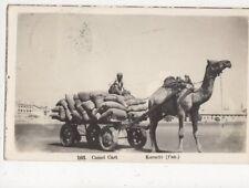 Camel Cart Karachi Pakistan 1953 RP Postcard 462a