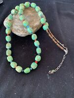 Exquisite Native American Navajo Sterling Silver Green Turquoise Necklace 819