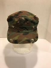 Ladies Camo Conductor Cap Hat Distressed With Skull & Rivets