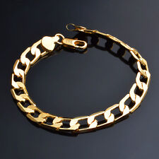 STAMPED REAL18K GOLD FILLED MENS/UNISEX LINK CHAIN BRACELET  GIFT 8MM 20 GMS