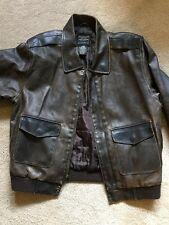 ARIZONA Men's VINTAGE Leather Style Jacket G-1 Flight Bomber Size L large Brown