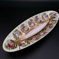 ARNART Porcelain Hand Painted 24K Gold Relish Dish 55-1102