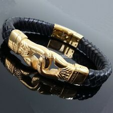 Classic Gold Tone Stainless steel Black Leather Fashion Bangle Mens Bracelet