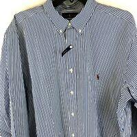 Polo Ralph Lauren Men's Button Down Shirt 2XLT XXLT L/S Cotton Stretch Blue