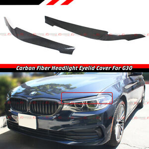 For 17-2020 BMW G30 530i 540i M550i CARBON FIBER HEADLIGHT EYELID COVER EYEBROW