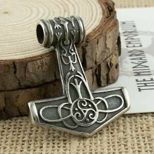 Viking Necklace Thors Hammer Pendant Stainless Steel Mens Jewellery