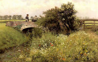 Oil painting emile claus - a meeting on the bridge young lovers in landscape art