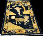 A Superb Collectible Antique 5; x 7' Pictorial Dragon/Lion Tibetan Rug