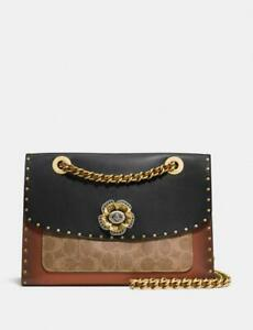 Coach 29416 Parker With Rivets And Snakeskin Detail Black Multi/Brass