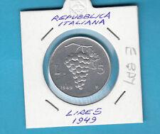 ITALIA LIRE 5 VECCHIO TIPO UVA 1949  FIOR DI CONIO prezzo speciale SUPER REGALO
