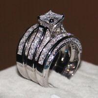 Ladies cocktail ring princess cut statement rhodium silver cz sparkling 7X116