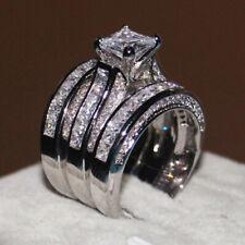 3pcs/set 925 Silver Rings Princess Cut Cubic Zirconia Wedding Gifts Ring Sz 5-12